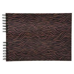 Exacompta 16006E - Album photos Zebra 32x22 cm, 50p. noires/100 photos, reliure à spirales, noir/brun