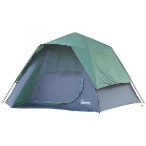 Outsunny Tente Pop up Montage instantané - Tente de Camping familiale 3-4 pers. - Grande Porte + 3 fenêtres - dim. 2,5L x 1,94l x 1,6H m Fibre Verre Polyester Oxford Bleu Vert