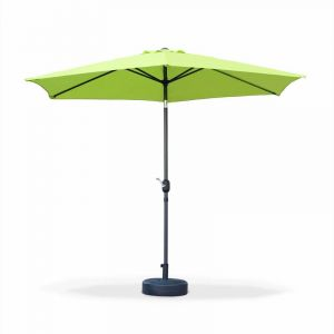Alice's Garden Parasol droit Touquet rond Ø300cm Vert Pomme, mât central aluminium orientable et manivelle d'ouverture