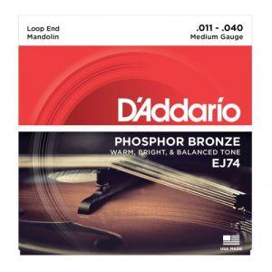 D'Addario AND CO CORDES POUR MANDOLINE J74 BRONZE PHOSPHOREUX MEDIUM 11-40