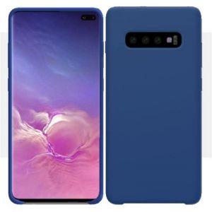 Ibroz Coque Samsung S10+ Liquid Silicone bleu