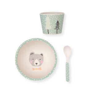 Love Maé Coffret repas bébé en bambou ours (3 pièces)