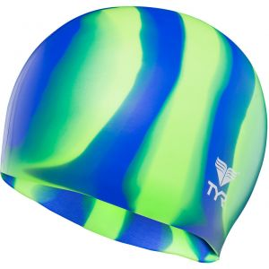 TYR Silicone Bonnet de bain vert/bleu Bonnets de bain