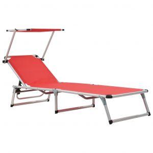 VidaXL Chaise longue pliable Rouge Aluminium et textilène