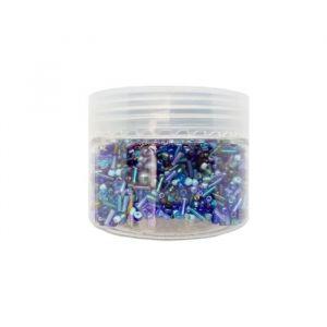 Panduro Perles en verre Bleu - 3 300 pieces - Mix de perles, en verre - Diamètre : 2 à 6 mm - Trou : 1 mm - Boîte de 120 g