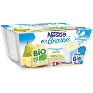 Nestlé P'tit brassés poire banane bio, dès 6 mois