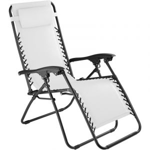 TecTake Chaise Longue de Jardin, Fauteuil de Jardin, Bain de Soleil Transat, Chaise Camping Pliante 63 cm x 87,5 cm x 111 cm Blanc