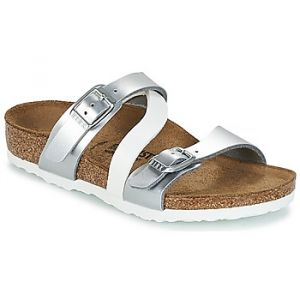 Birkenstock Salina, Sandales Bout Ouvert Filles, Argent (Soft Metallic Silver White Soft Metallic Silver White), 33 EU