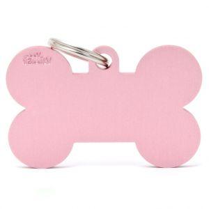 Myfamily Médaille basic os XL chien en aluminium rose