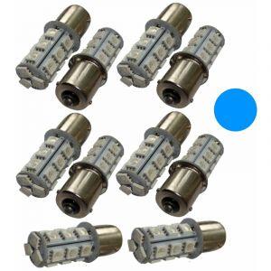 Aerzetix : 10x ampoule P21W R5W R10W 12V 18LED SMD bleu base 1156