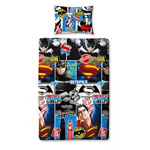 Character World Parure de lit simple réversible Batman vs. Superman (140 x 200 cm)