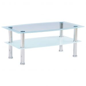 VidaXL Table basse Blanc 100x60x42 cm Verre trempé