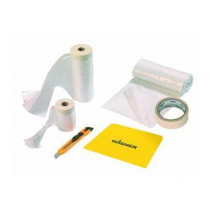 Wagner Kit de masquage et protection Premium - Kit : 1 bâche protection, 1 film et adhésif de masquage, 1 spatule protection 25cm et 1 cutter lame 12mm.