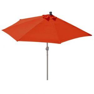 Mendler Demi-parasol aluminium Parla pour balcon ou terrasse, Ip 50+, 285cm ~ terracotta sans pied