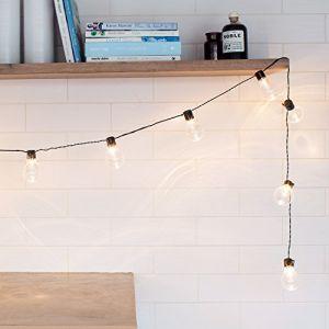 Lights4Fun Guirlande Lumineuse Guinguette avec 20 Boules LED Blanc Chaud à Piles pour Intérieur/Extérieur par
