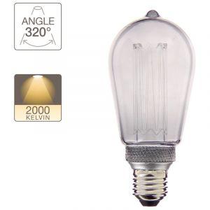 Ampoule LED déco hologramme globe verre fume culot E27 blanc chaud
