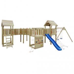 VidaXL Ensemble d'aire de jeux avec toboggan, échelles et balançoires en bois