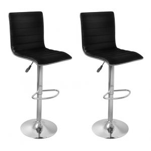 VidaXL Lot de 2 tabourets de bar design Dark Spirit noir acier & simili cuir Hauteur réglable Repose-pieds