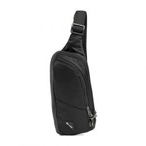 PacSafe Vibe 150 - Pack antivol Cross-Body, pour Femmes et Hommes, 210D Nylon Ripstop, Sac à bandoulière antivol, Jet Black/Noir