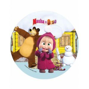 Image de Disque en sucre Masha et Michka 21 cm
