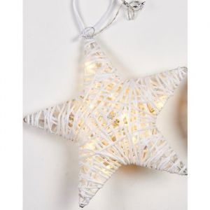 Christmas Dream Suspension lumineuse Etoile en rotin 10 LED blanc chaud longueur 25 cm