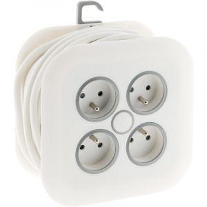 Zenitech Enrouleur domestique 4x16A à fiche extraplate 3G1mm² - 5m Blanc