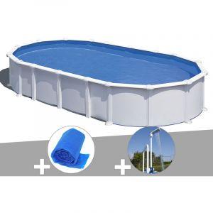 Gre Kit piscine acier blanc Atlantis ovale 8,15 x 4,90 x 1,32 m + Bâche à bulles + Douche