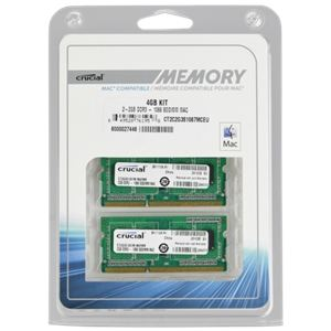 Crucial CT2K2G3S1067M - Barrettes mémoire 2 x 2 Go DDR3 1066 MHz SoDimm 204 broches pour Mac