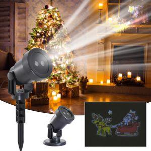 Homcom Projecteur LED éclairage de Noël intérieur extérieur 6 W motif traineau du père Noël surface projection ajustable 10-30 m² noir