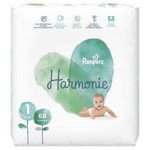 Pampers Harmonie Taille 1 - 2-5 kg - 68 couches