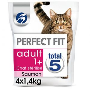 Perfect fit Adult 1+ chat stérilisé - Croquettes au saumon pour chat 1,4kg - Lot de 4