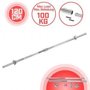 Physionics® Barre d'Haltère Longue - 120 ou 165 cm, Diamètre 25 mm, Acier Chromé, avec 2 Fermoirs en Forme d'Étoile, Poignées Antidérapantes - Barre de Musculation, Haltérophilie