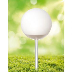 Xanlite Balise solaire et LED boule à planter ou à poser en plastique blanc diamètre 20cm ...