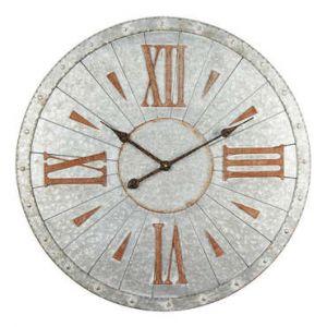 Conforama Horloge murale effet metal - Acier - D68x3 cm - Style classique et industriel - 1 pile LR06 -AA. 1.5V- non fournie