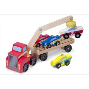 Melissa & Doug Camion de transport bois grue magnétique