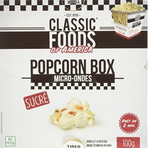Classic Foods of America Popcorn box sucré micro-ondes
