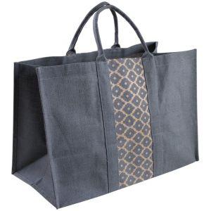 Aubry Gaspard Sac à bûches gris en jute plastifiée Elegance
