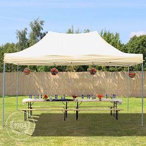 Intent24 Tente Pliante 3 x 4,5 m ECONOMY PE 300 g/m² beige + Housse / Barnum Chapiteau Pliant Tonnelle Stand Paddock Réception.FR