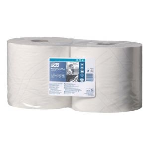 Tork Lot de 2 bobines d'essuyage Paper Plus blanche - 750 formats - 2 plis - 23,5 x 34 cm