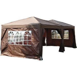 Outsunny Tonnelle barnum pliant pop-up imperméabilisé 6L x 3l x 2,5H m 6 parois latérales amovibles 4 fenêtres + sac de transport chocolat