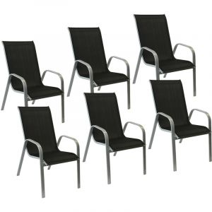 Happy Garden Lot de 6 chaises MARBELLA en textilène noir - aluminium gris