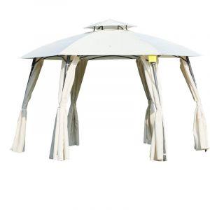 Outsunny Tonnelle barnum ronde style colonial dim. Ø 3,6L x 3,6l x 2,7H m double toit 6 rideaux latéraux polyester crème métal gris