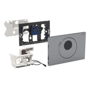 Geberit Sigma 10 Commande WC électronique automatique Touch Free 24.6x16.4cm avec infrarouge avec connexion réseau électrique pour réservoir encastrable UP300/320 acier inoxydable brossé/poli/brossé 115890sn5