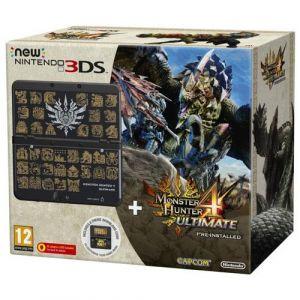 Nintendo Console New 3DS - noir + Coque Monster Hunter pour New 3DS + Monster Hunter 4 - Ultimate préinstallé