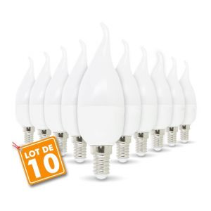 Eclairage design Lot de 10 Ampoule LED E14 Flamme 4W eq 30W | blanc-chaud-3000k