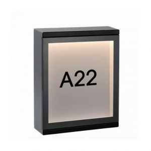 Lucide Applique façade numéro Cadra LED H20 cm IP65 - Noir