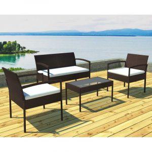 Lynco Salon de jardin canapé avec fauteuils et table choco/écru