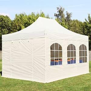 Intent24 Tente pliante 3x4,5 m avec fenêtres beige PROFESSIONAL tente pliable ALU pavillon barnum.FR