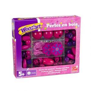 Wooz'art Coffret de perles colorées en bois violettes et roses