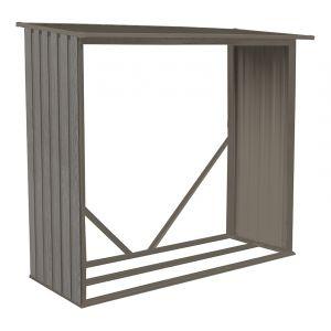 Chalet et Jardin CHALET & JARDIN Bûcher en métal imitation bois vieilli - 6x2,5m - Au design moderne avec son aspect en bois vieilli - Dimensions : 6x2,5m.